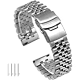 20mm Silver 3-Dimensional Stainless Steel Watch Band Strap Engineer Solid Screw Fixed Link, Double Locking Clasps, Quick Release Replacement Bracelet for Women&Men