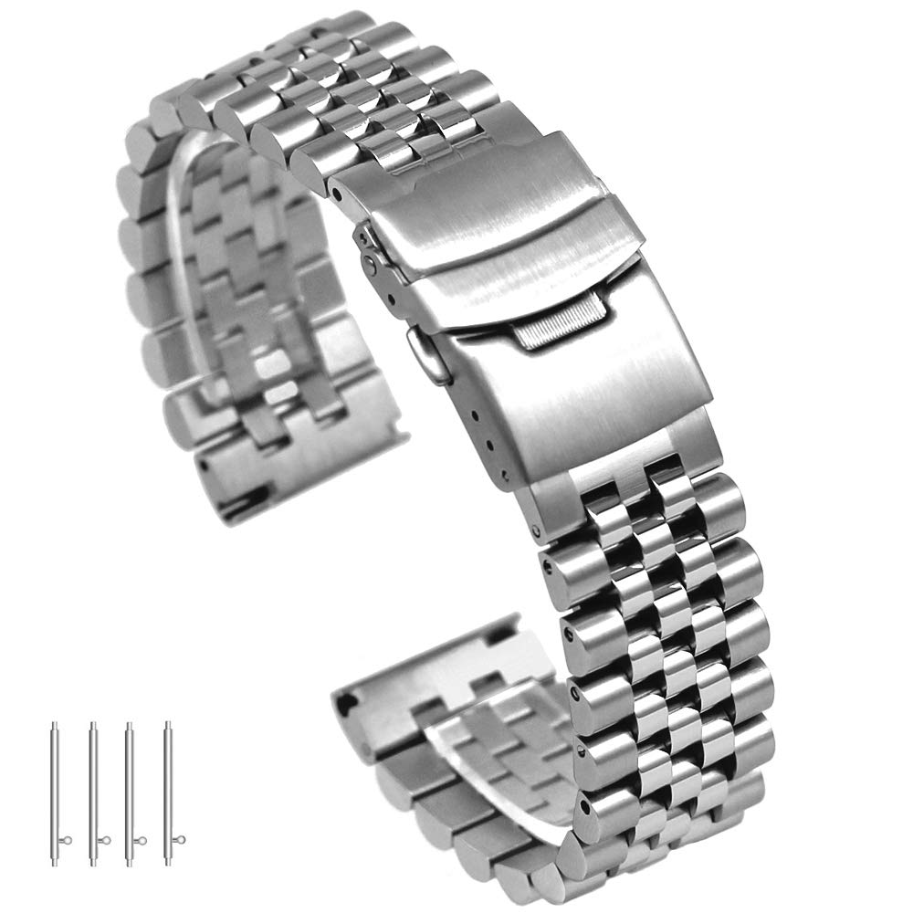 20mm Silver 3-Dimensional Stainless Steel Watch Band Strap Engineer Solid Screw Fixed Link Double Locking Clasps Quick Release Replacement Bracelet for Women&Men