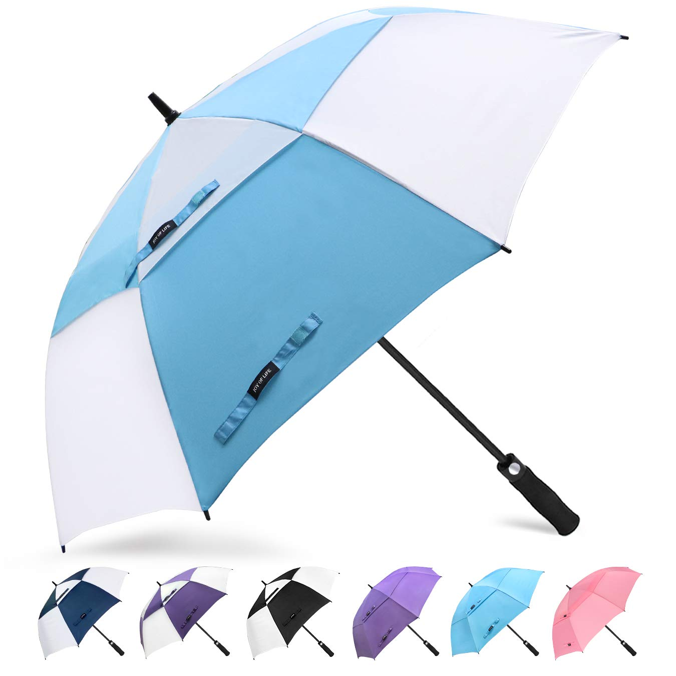 ZOMAKE Golf Umbrella 68 Inch, Large Windproof Umbrellas Automatic Open Oversize Rain Umbrella with Double Canopy for Men - Vented Stick Umbrellas by ZOMAKE