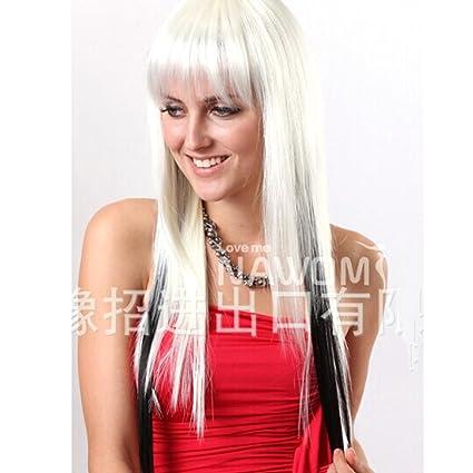 HSG caliente Kanekalon pelucas Cosplay del pelo lindo blanco y negro larga recta pelucas poni con