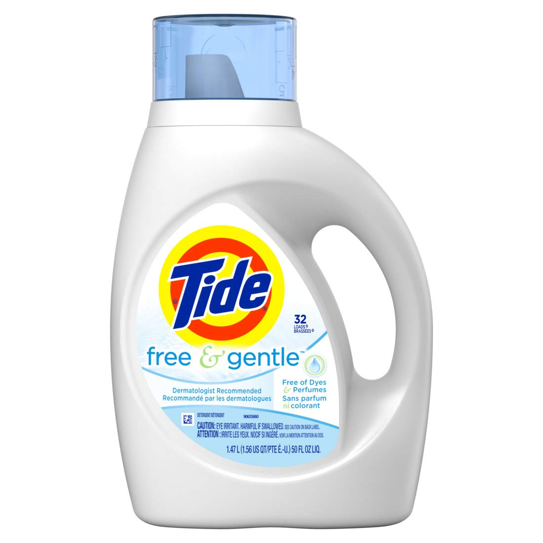 Tide Free & Gentle Liquid Laundry Detergent, Unscented, 1.47 L (32 Loads)