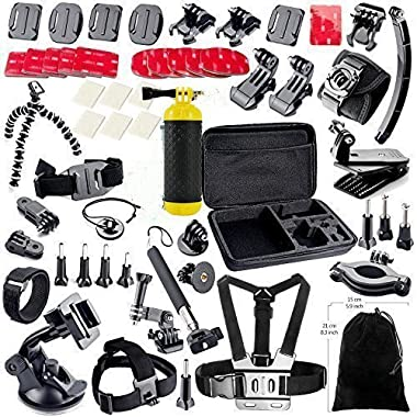 MCOCEAN Accessory Kit for GoPro Cameras (Silver Black, 38-Pieces)