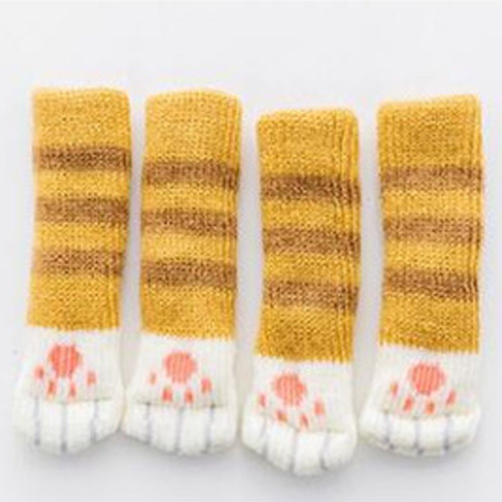 PoeHXtyy Calze da sedia con Cute Cat Paw Design Knitting Furniture Leg, Furniture and Floor Protector