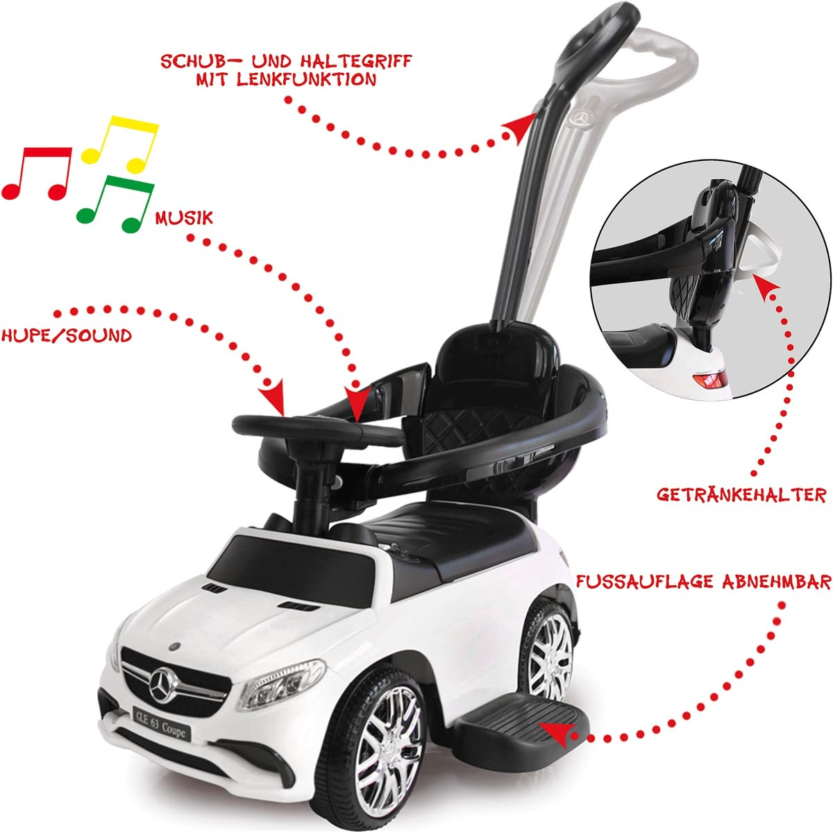 Stimo Mercedes Benz AMG Rutschauto Kinder Fahrzeug Rutscher Auto AMG C63 Coupe BLAU Haltegriff mit Lenkfunktion offiziell lizenziert