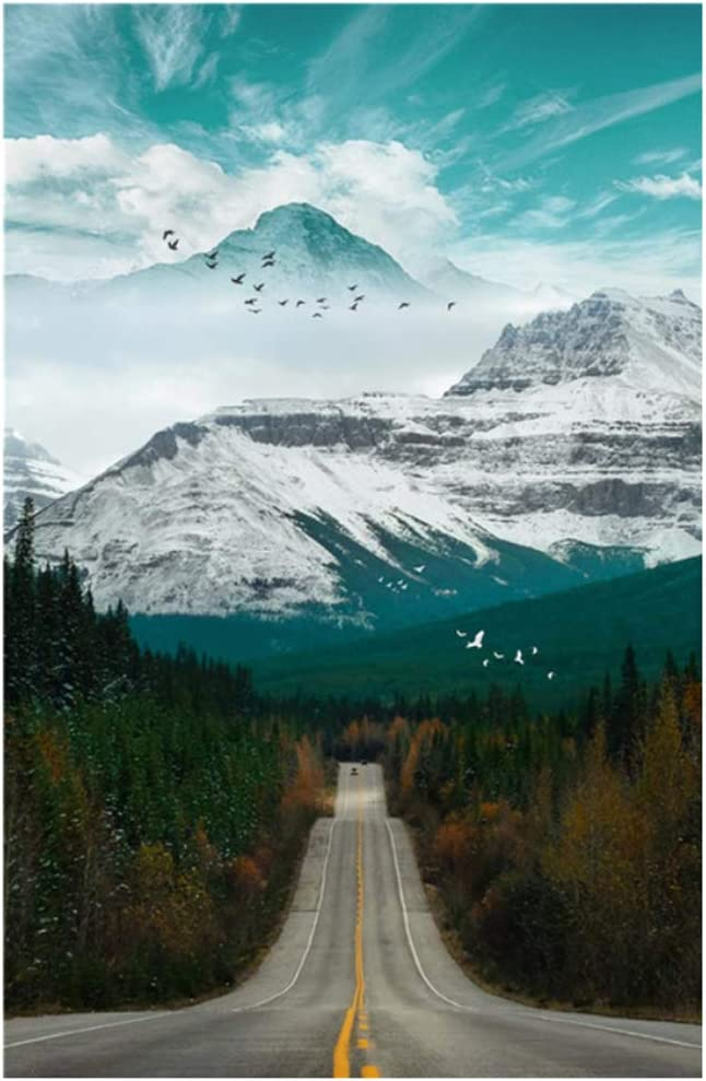 Nature Scenery Canvas Painting Mountain Forest Road Landscape and Poster for Bedroom Home Decor 40x70cm(15.7''x27.5'') Framed