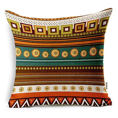 Price comparison product image YouYee Square Decorative Cotton Linen Throw Pillow Case Cushion Cover,Ethnic African Style(18x18inch)