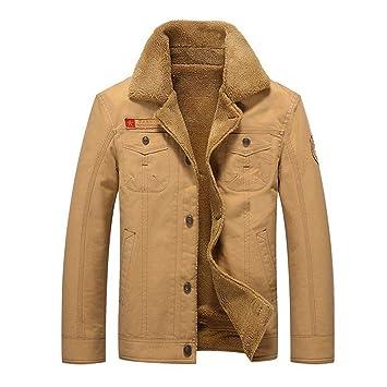 caidi – Chaqueta Militar Cazadora para Hombre cálido Grueso Vintage Abrigo Manga Larga Botón Chaqueta Casual, Color Caqui 2XL