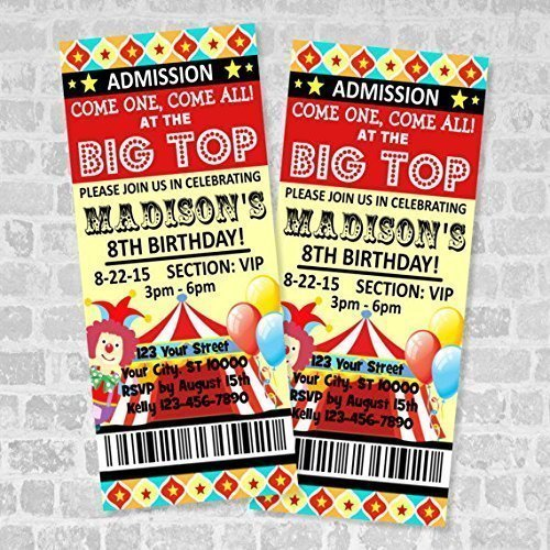 AmazonCom Circus Ticket Invitations Circus Carnival Birthday