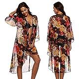 Anglebee Women's Floral Chiffon Kimono Cardigan Summer Beachwear Swimsuit Cover up Yellow