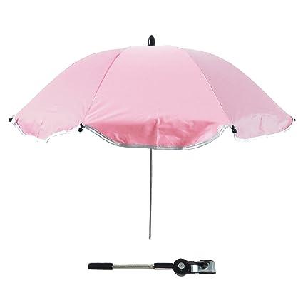 Gosear Sombrilla Silla Paseo Universal, Cochecito Paraguas sombrilla Parasol para Sillita de bebé protección UV, 360 Grados de dirección Ajustable ...