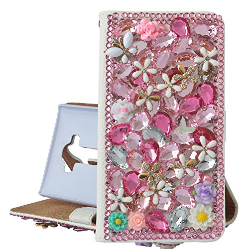 (Spritech(TM) PU Leather Bling Phone Case For Iphone 7 4.7inch,Handmade Rose Silver Crystal Flower Accessary Design Cellphone Cover With Card Slots)