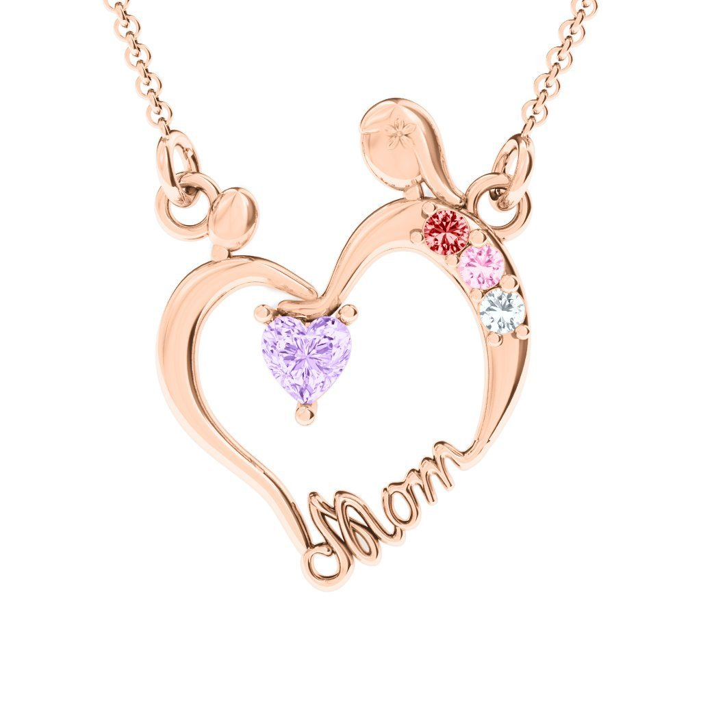 10K Gold Mother and Child Pendant with Personalized Birthstones by JEWLR