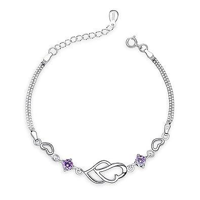 898c8cee8b75 Fashmond Bracelet Argent femme fille Coeurs Doubles 5A oxyde de zirconium  avec un écrin cadeau- Idée Cadeau Saint Valentin Anniversaire  Amazon.fr   Bijoux