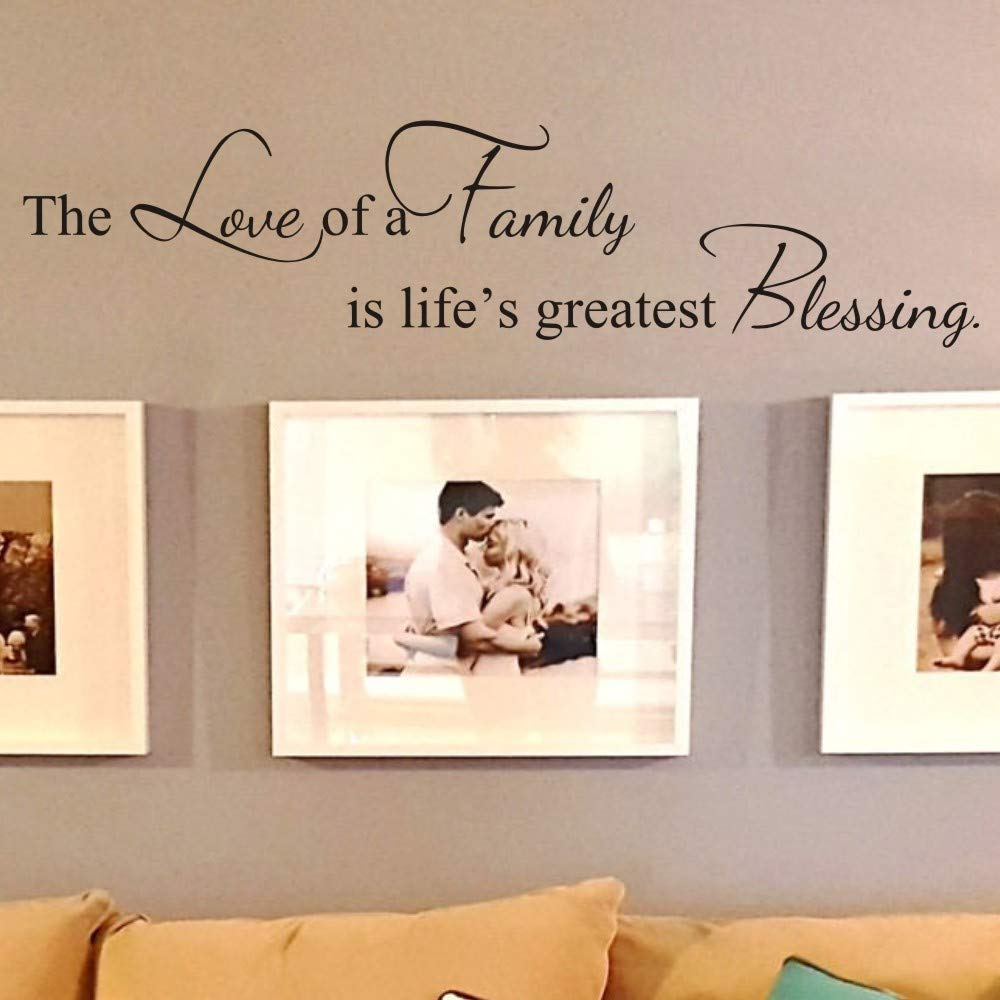 FlyWallD Family Quotes Wall Decals for Living Room Lettering Vinyl Writing Sayings Art Sticker Picture Decor