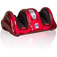 JSB HF68 Foot Massager Machine for Calf Pain Relief with Heat (Red)