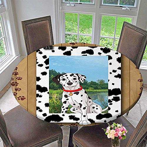 Mikihome Round Tablecloths Dog Pet Doggy Collar Puppy Paws Footprint Frame or Everyday Dinner, Parties 63