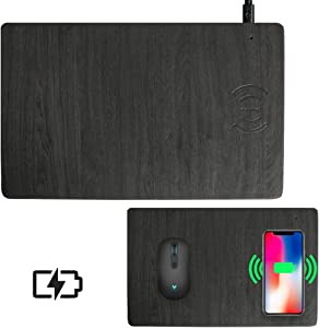 Fast Wireless Charger Mouse Pad Qi Certified Case-Friendly 10W Wireless Charging Mouse Mat for iPhone 11,11 Pro,11 Pro Max,XR,Xs Max,Xs,X,8,8 Plus,Samsung Galaxy S10/S9/S8,Note 10/9/8/(7.5W/10W)