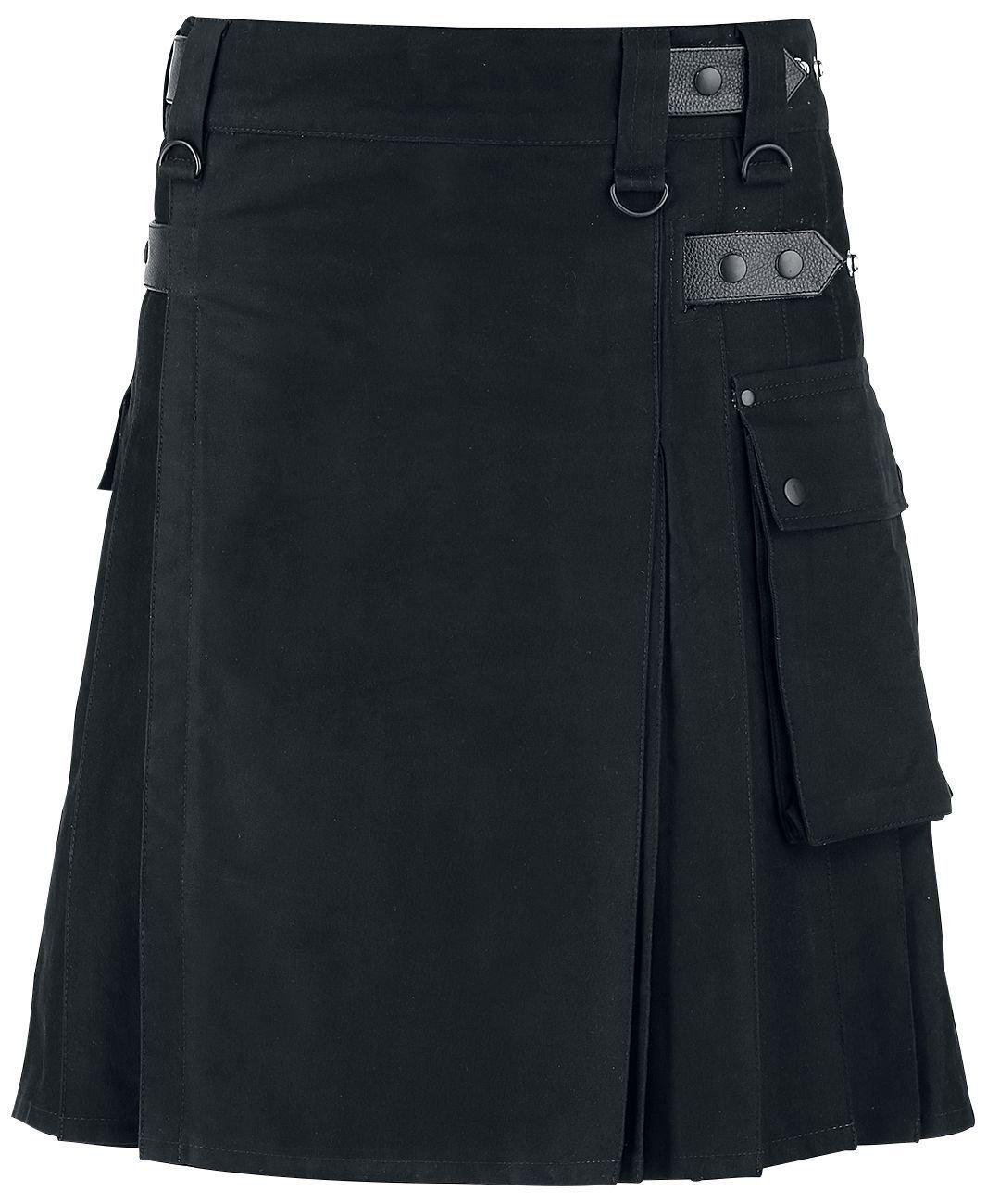 New Men's Scottish Utility Kilt Black 100% Cotton Custom Made Handmade Adult Kilt (46, Black Kilt)