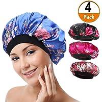 1c4833ac930 4 Pack Soft Satin Sleeping Cap Wide Band Salon Bonnet Silk Night Sleep Hat  Hair Loss