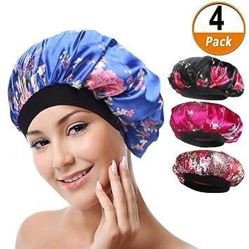 7f95f2b7414 Amazon.com   4 Pack Soft Satin Sleeping Cap Wide Band Salon Bonnet Silk  Night Sleep Hat Hair Loss Cap for Women