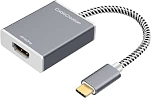USB-C to HDMI CableCreation Type C to HDMI 4K @60Hz Adapter, Thunderbolt 3 Compatible, Male to Female, DP Alt Mode