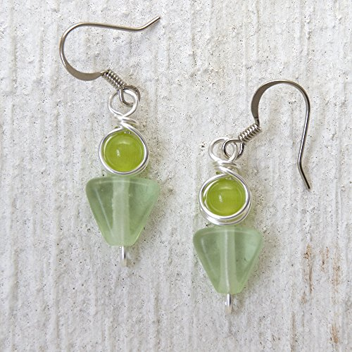 lime-and-pastel-green-faux-beach-glass-modern-dangle-earrings-handmade-casual-wear-jewelry