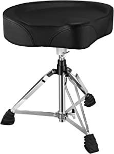 Donner Adjustable Drum Throne, Padded Stool Motorcycle Style Drum Chair for Music Show