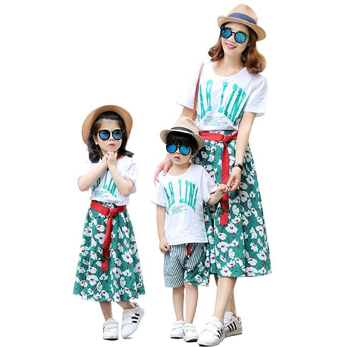 親子お揃い服 上下セット 半袖tシャツ スカート/ショットパンツ セット ボーダー柄