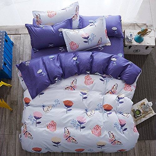YIweNi Bedding Aloe cotton 4 piece student dormitories throughout the activated, Butterfly Dance ,1.2m