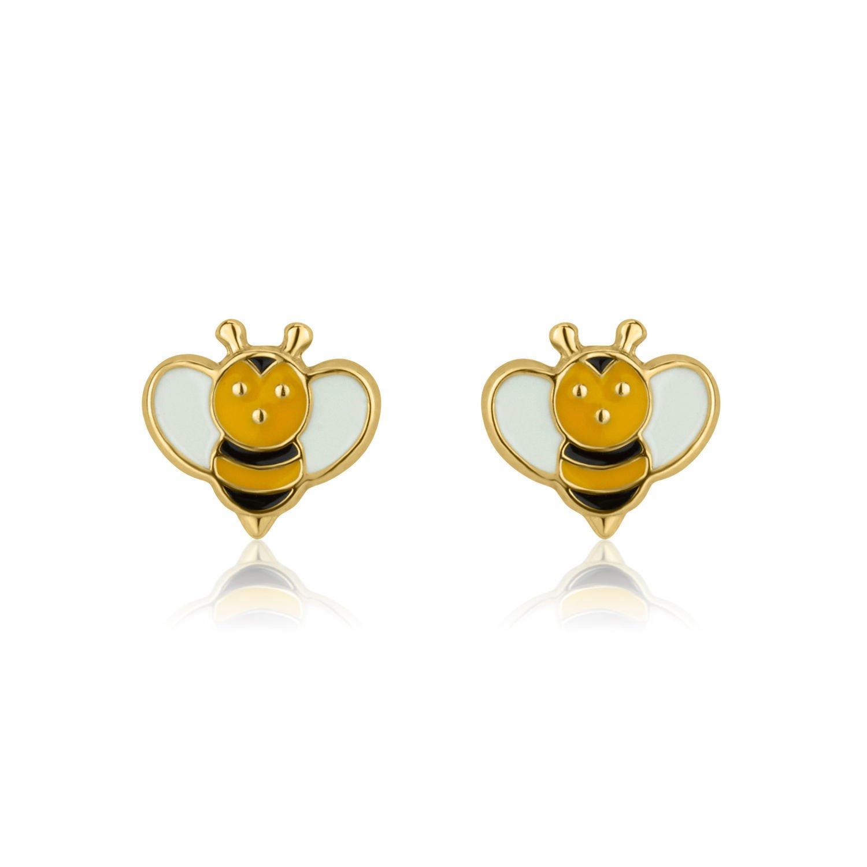 14K Fine Yellow Gold Enamel Bee Screw Back Stud Earrings for Girls Gift Kids Children