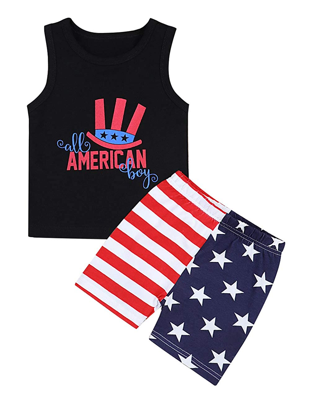 7cc2ff99b Amazon.com: 4th of July Toddler Baby Boy Clothes Patriotic Outfits  Sleeveless T-Shirt Top USA Flag The Stars and Stripes Pants for Kids:  Clothing