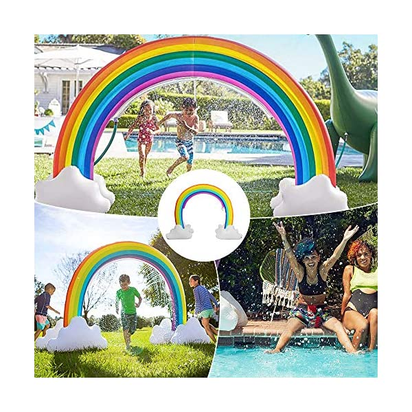 """Inflatable Rainbow Yard Summer Sprinkler Toy, Over 6"""" Long Outdoor Lawn Rainbow Arch Water Spray Toy for Kid Child Adult Games 9"""