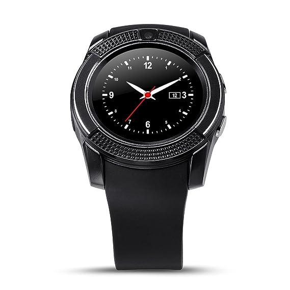 FAVOLOOK Reloj inteligente Bluetooth V8 con tarjeta SIM GSM y podómetro para Android, negro: Amazon.es: Deportes y aire libre