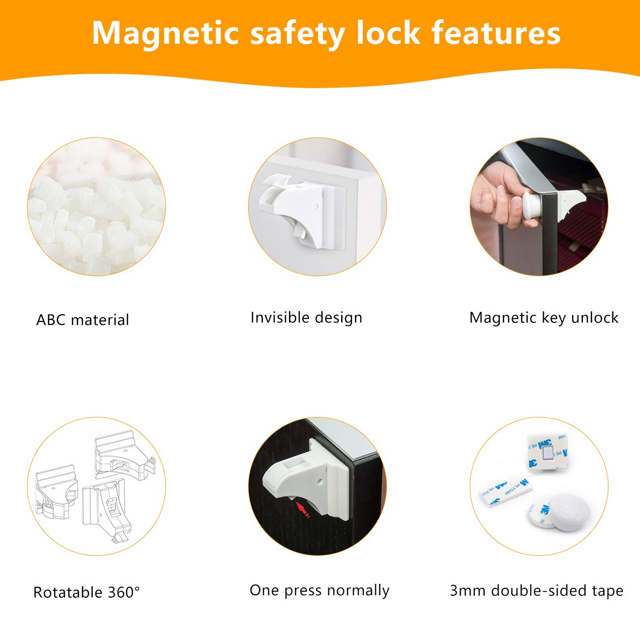 with 3M Strong Adhesives 8 Locks + 2 Keys White Wardrobes and Drawers E-More Child Safety Magnetic Cupboard Locks Invisible Design No Tools or Drilling Needed Baby Safety Locks for Cabinets
