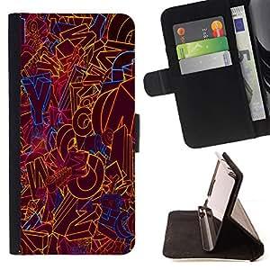 GIFT CHOICE / Billetera de cuero Estuche protector Cáscara Funda Caja de la carpeta Cubierta Caso / Wallet Case for Apple Iphone 4 / 4S // Colourful Word Art //