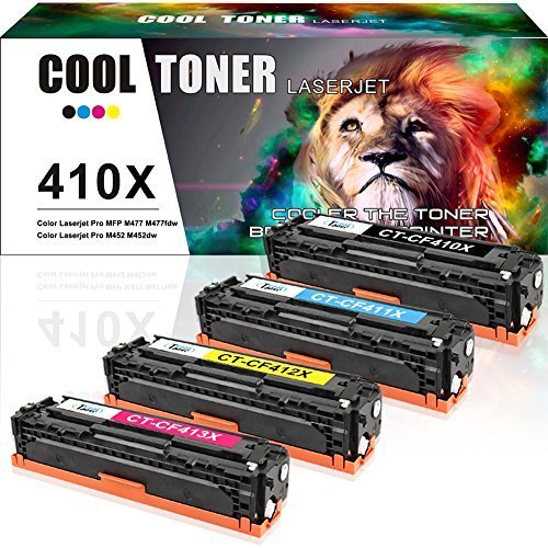 Cool Toner 4PK Compatible for HP 410X 410A CF410X CF410A M477FDW Toner Cartridge for HP Laserjet Pro MFP M477fdw M477fnw M477fdn Pro M452dn M452dw M452nw Toner Ink Printer - Black Cyan Yellow Magenta