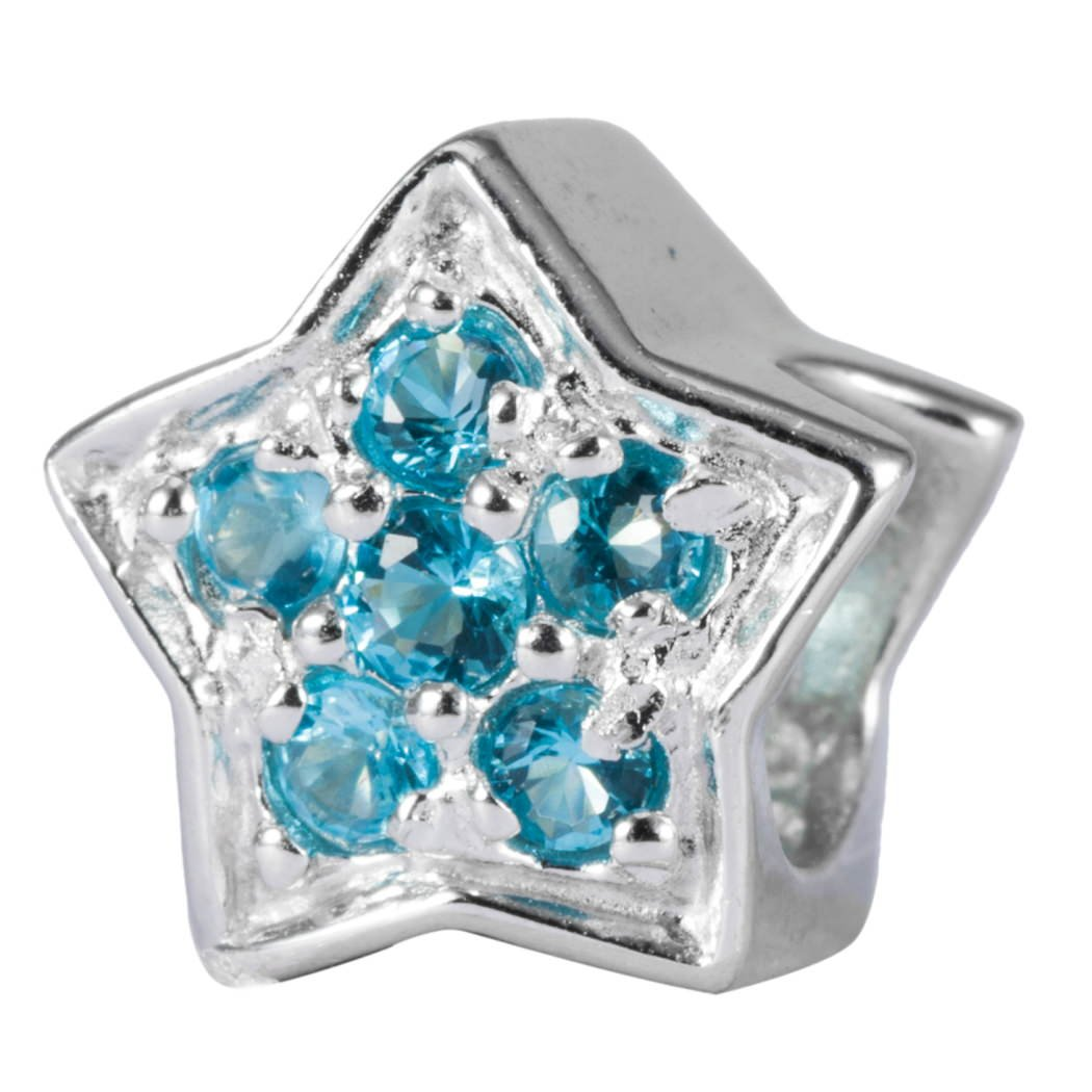 ce8835c33 Shining Star Sterling Silver Charm March Birthstone Bead Aquamarine Swarovski  Crystal fits All Charm Bracelet Women Girls Mother's Gifts EC629