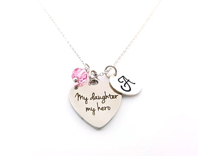 Amazoncom My Daughter My Hero Necklace Mom Charm Personalized