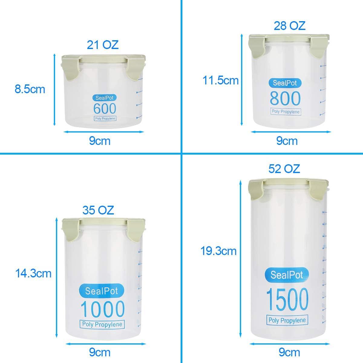 Aitsite 4PCS Tarro de Vidrio de Almacenamiento Juego de Recipientes Herm/éticos Tarros de Cristal con Tapa Tarro de Granos Transparente Contenedores de Alimentos Cristal sin BPA 2*1000ml+2*1800m