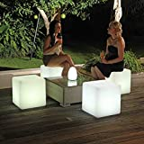 Denzihx Outdoor Party Stool Light Chair,Waterproof Party [Meeting] Bar Creative Color Remote Control Led Charging-A 20x20x20cm