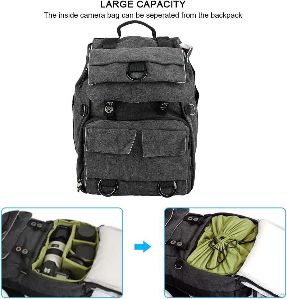 Camera Bag DSLR Cameras Boquite Camera Backpac Lens Vintage Fashionable Photography Backpack Waterproof Bag Mirrorless Cameras Flashes and Other Green