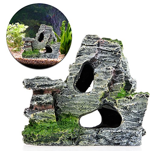 Mimgo Aquarium Mountain Coral Reef Rock Cave Stone Moss Fish Tank Ornament Decoration (Bottom Stand Tank)