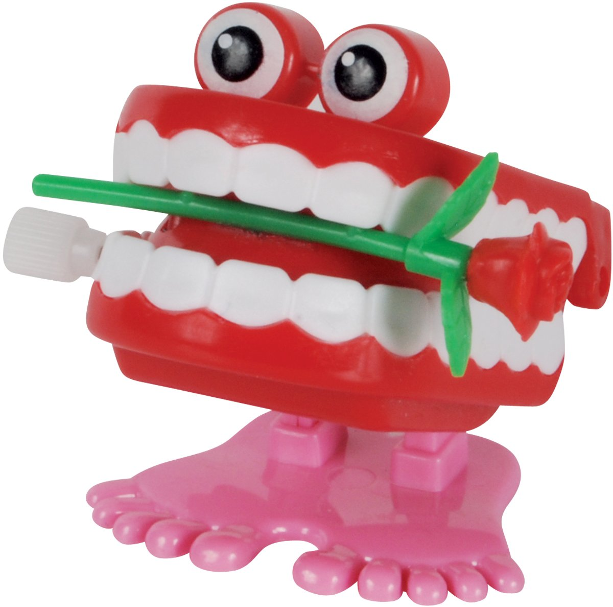Loftus International Valentine's Day Wind-Up Teeth With Rose 2'' Novelty Toy, Red Pink White, 12 Pack Novelty Item
