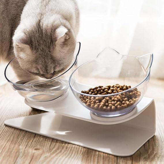 Xiuinserty Tazón para mascotas antideslizante para gatos con soporte elevado, cuenco de agua para gatos y perros