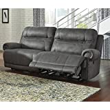 Ashley Austere 3840181 2-Seat Reclining Sofa with Plush Rolled Arms Thick Divided Back Cushions Jumbo Stitching and Nail-Head Accents in Brown
