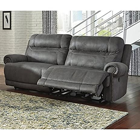 Ashley Austere 2 Seat Faux Leather Reclining Sofa In Gray