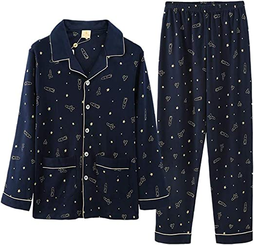 Pijamas Hombres Manga Larga algodón Chaqueta de Punto Ropa de ...
