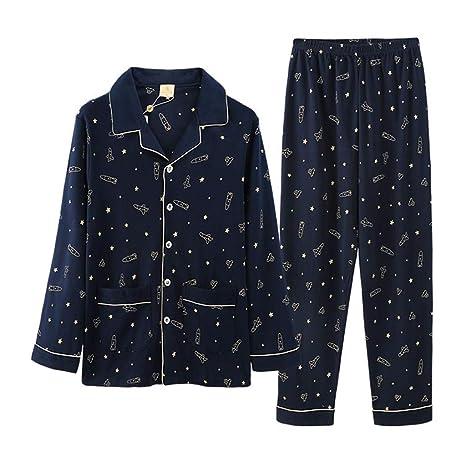 Pijamas Hombres Manga Larga algodón Chaqueta de Punto Ropa ...