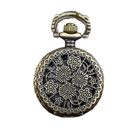 Reloj grabado antiguo del reloj de Fob del cuarzo hueco de la flor de las mujeres
