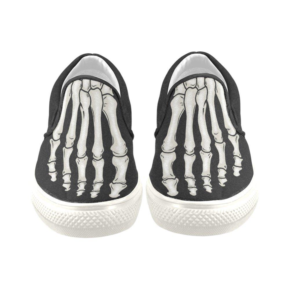 Unisex Canvas Sneakers White//Black Soles Elliz Skeleton Foot Slip-on Skateboarding Shoes